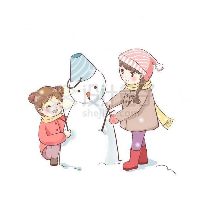 两个卡通小女孩正在堆雪人冬天游玩项目免抠图片素材