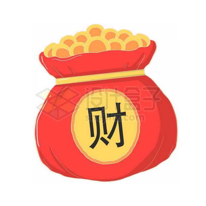 红色的钱袋子上写着财字装满金币免抠图片素材