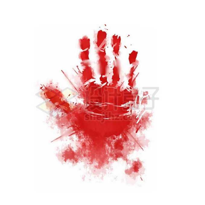 一巴掌血印子手掌印恐怖元素免抠图片素材