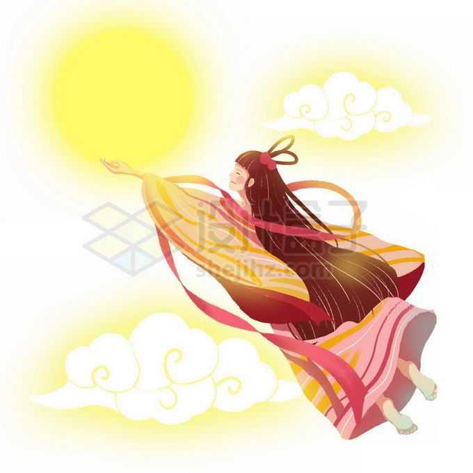 飞天的卡通嫦娥古装小仙女免抠图片素材