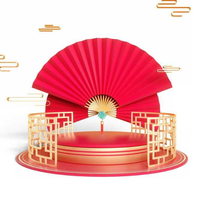 新年春节3D立体风格中国风圆形展台和红色折扇装饰3330652免抠图片素材
