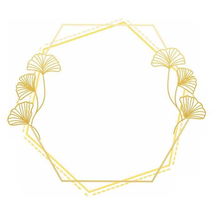金色线条六边形边框和银杏叶装饰3446636免抠图片素材