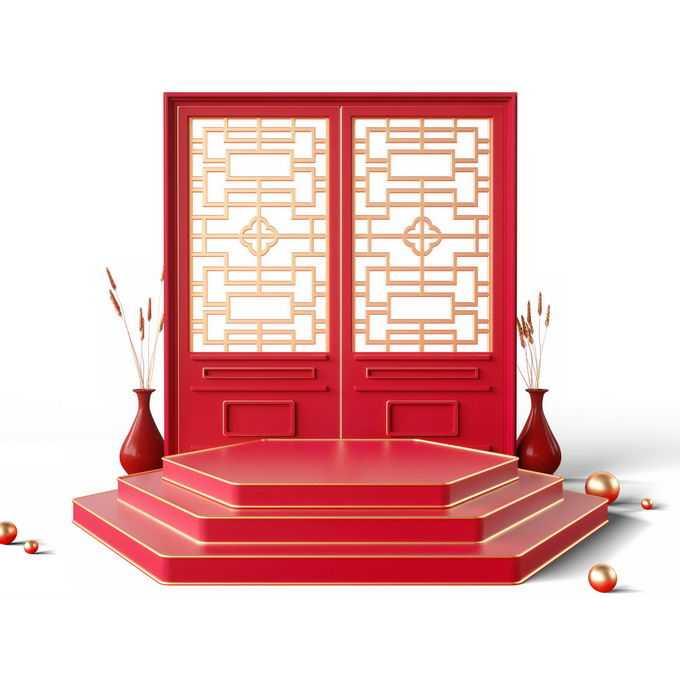 新年春节红色中国风3D展台和红色大门屏风装饰7266533免抠图片素材