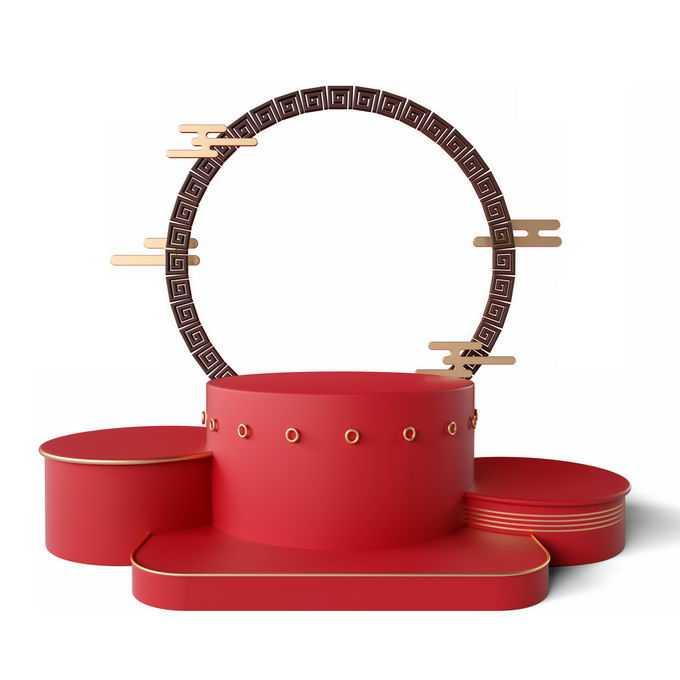 新年春节红色中国风3D展台颁奖台装饰7373210免抠图片素材