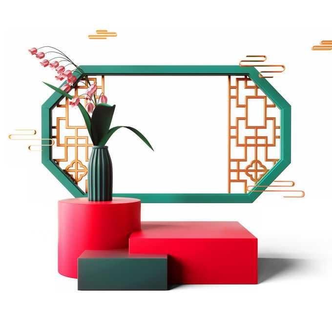新年春节红色中国风3D展台和窗格装饰1145307免抠图片素材