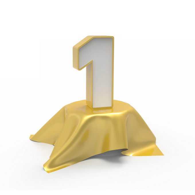 金色桌布上的3D立体数字1第一名4363084免抠图片素材