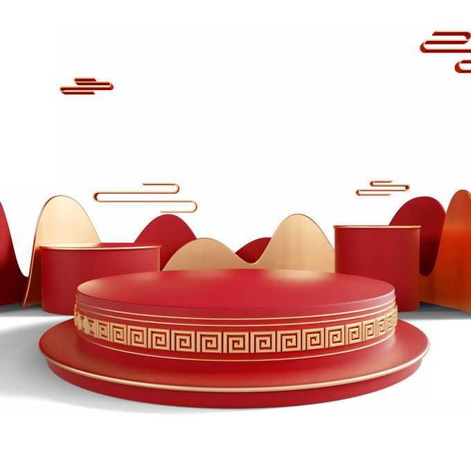 新年春节红色中国风3D展台金色祥云图案装饰1388608免抠图片素材