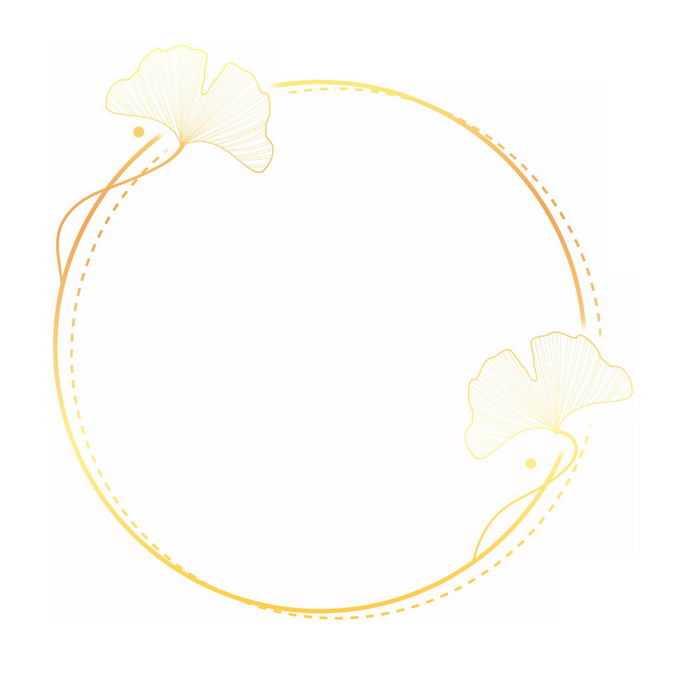 金色圆形线条边框和银杏叶装饰8711291免抠图片素材
