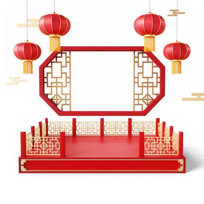 新年春节红色中国风3D展台戏台窗格和大红灯笼装饰7999853免抠图片素材