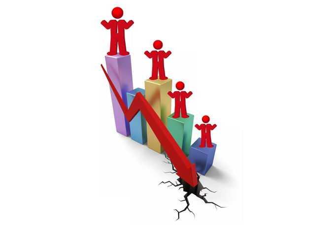3D立体风格柱形图和红色下降箭头象征了收入减少工资下降6770378免抠图片素材
