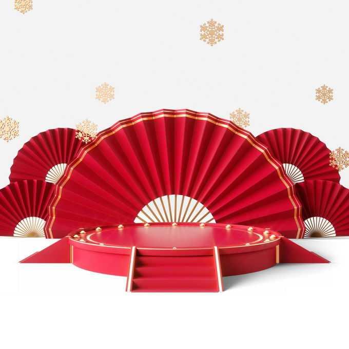 新年春节红色中国风3D圆形展台折扇背景装饰6244754免抠图片素材