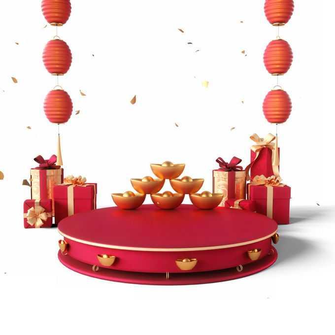 新年春节红色中国风3D圆形展台金元宝礼物和红灯笼装饰2261863免抠图片素材