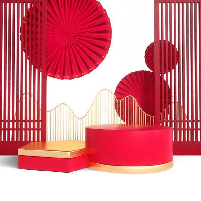 新年春节金色红色中国风3D展台屏风装饰8547992免抠图片素材
