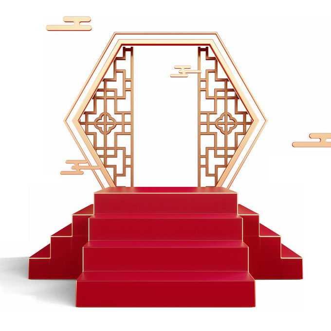 新年春节红色中国风3D展台金色窗格装饰2543836免抠图片素材