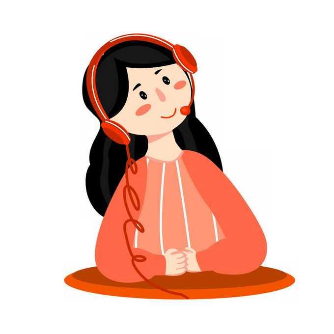 卡通红衣女孩戴耳机听歌4319610免抠图片素材