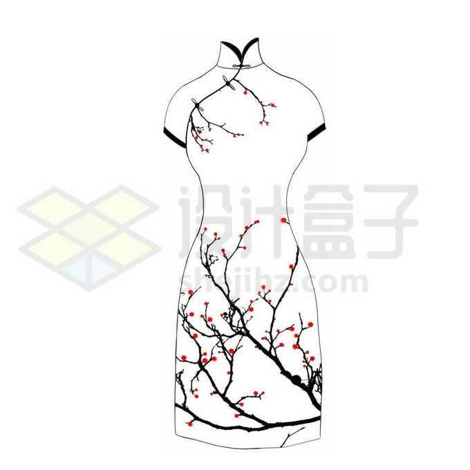 枝头上的梅花旗袍中国传统服装1753313图片素材下载