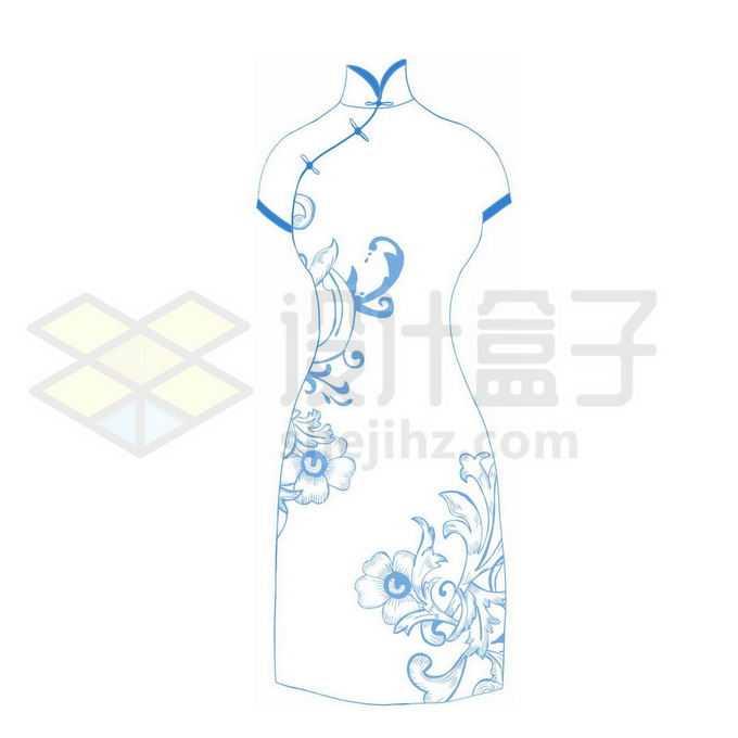 青花瓷图案的旗袍中国传统服装8579386图片素材下载