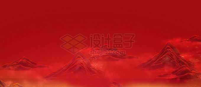 中国风红色山水画背景6872645图片素材下载