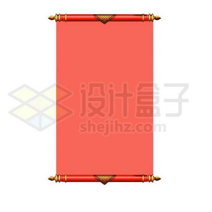 红色中国风卷轴文本框信息框1630971图片素材下载
