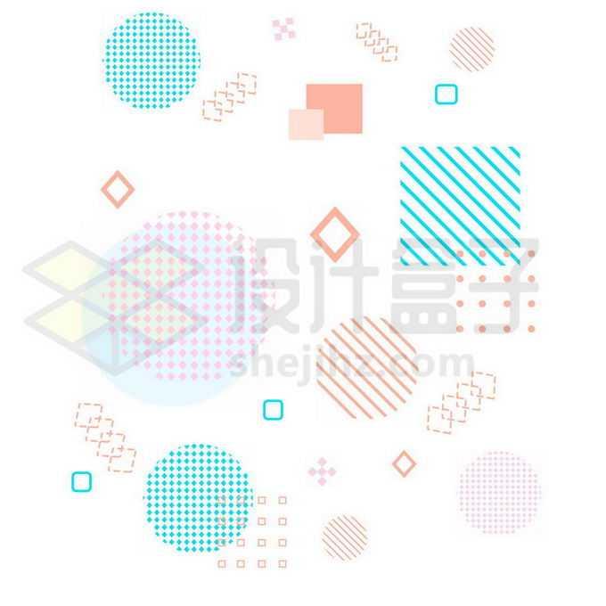 点阵圆形线条方框等孟菲斯风格图案8856981图片素材下载