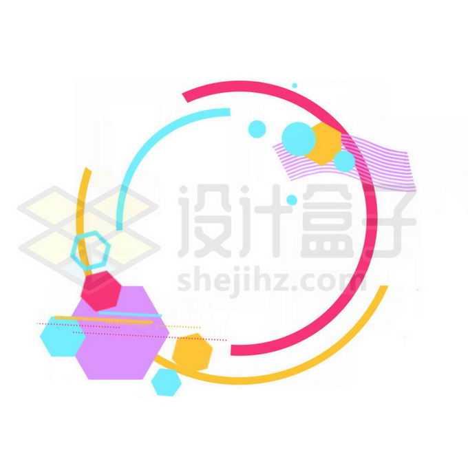 孟菲斯风格线条圆形多边形装饰1351040图片素材下载