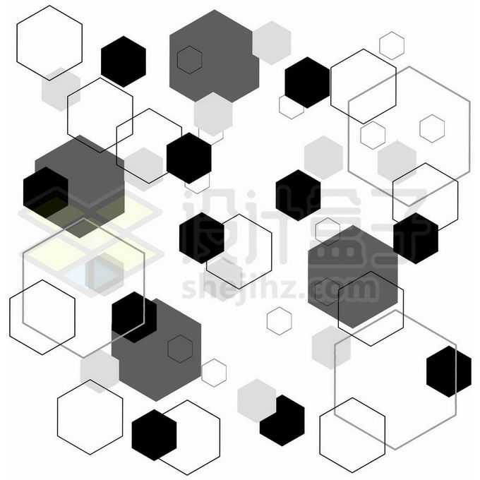黑白灰六边形几何图形底纹图案装饰7972595图片素材下载