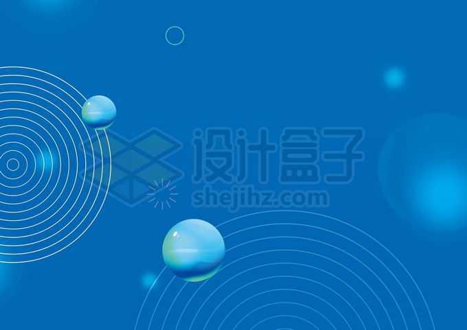 3D小球和线条同心圆装饰蓝色背景图4302329图片素材下载