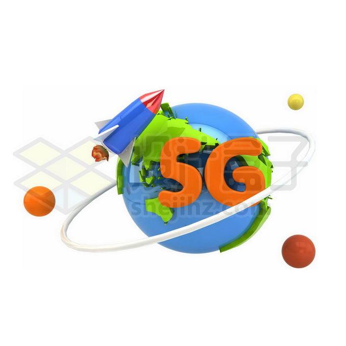 3D立体风格地球和卡通火箭5G技术8714288图片素材下载