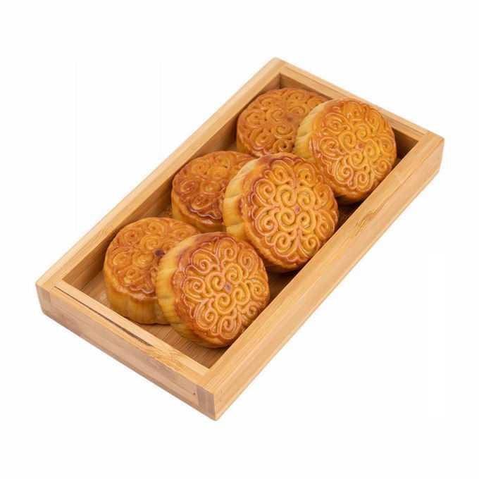木头盒子中的月饼中秋节传统美食5136160png免抠图片素材