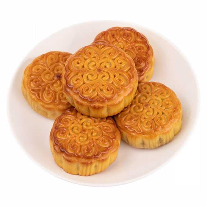 盘子中摆放整齐的5个月饼中秋节美食2597920png免抠图片素材