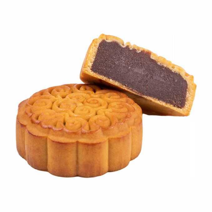 切开一半露出馅儿的豆沙月饼中秋节美食6193339png免抠图片素材