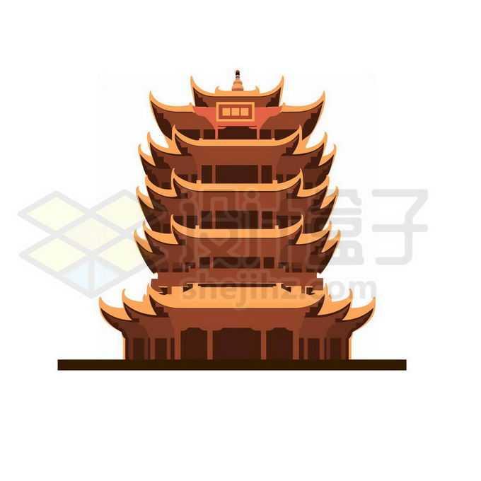 扁平化风格的黄鹤楼武汉地标建筑6017598图片素材下载