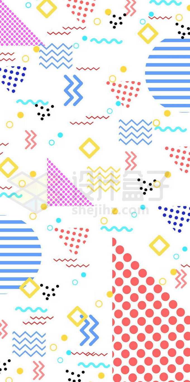 彩色点阵三角形线条圆形波浪线折线等孟菲斯风格图案6435181图片素材下载