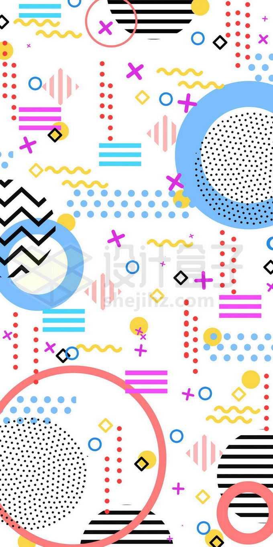 彩色点阵圆形不规则形状等孟菲斯风格图案2001841图片素材下载