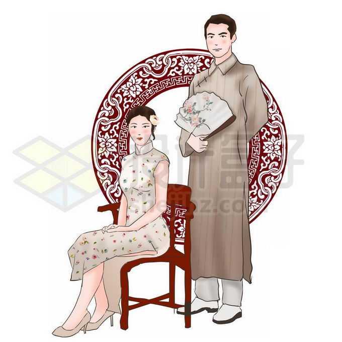 民国风穿着旗袍的女人和大褂的男人合影9184732图片素材下载