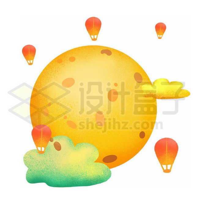 肌理插画风格黄色的月亮和孔明灯中秋节装饰3444826图片素材下载