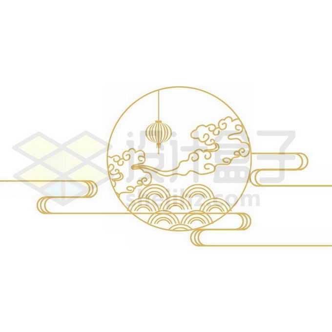 金色线条月亮祥云中秋节图案8746151图片素材下载
