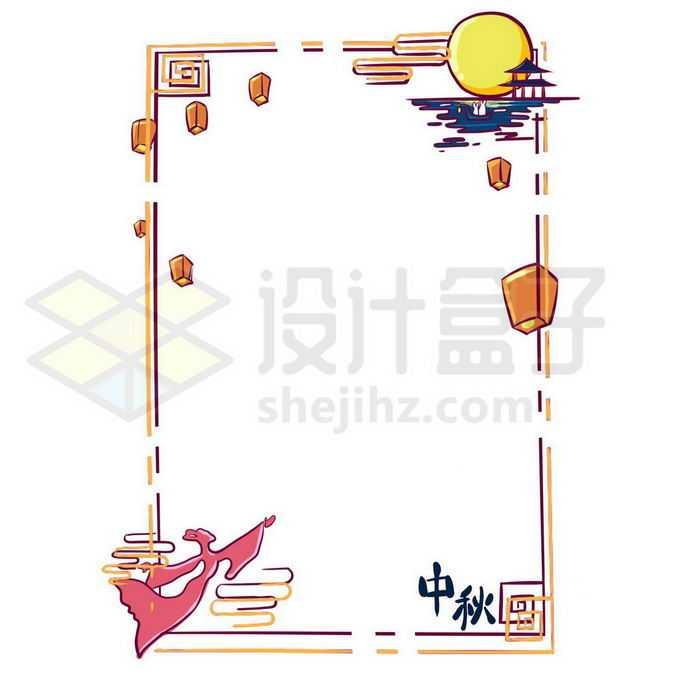 MBE风格中秋节黄色月亮嫦娥边框4094208图片素材下载