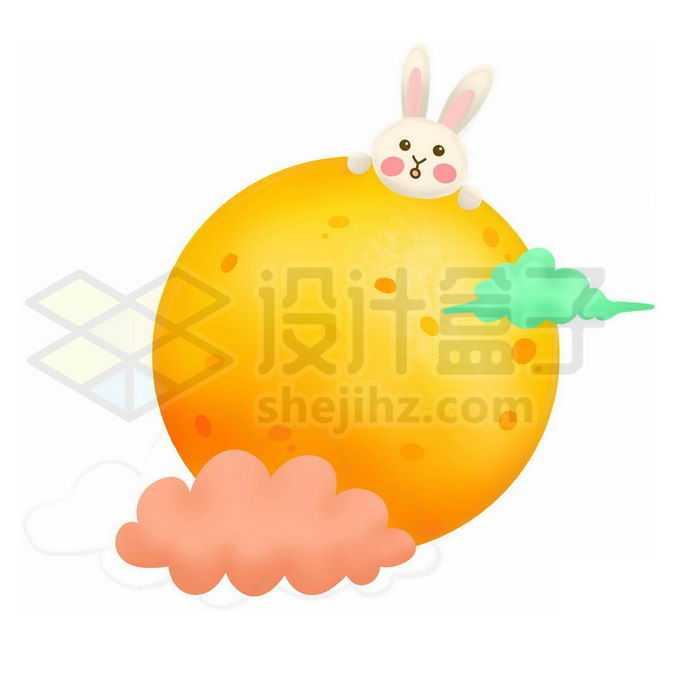 中秋节肌理插画风格黄色的月亮和卡通玉兔3793661图片素材下载