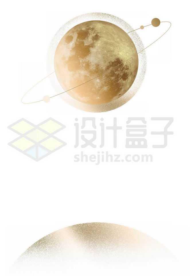 金色的星球和它的卫星插画8693956图片素材下载
