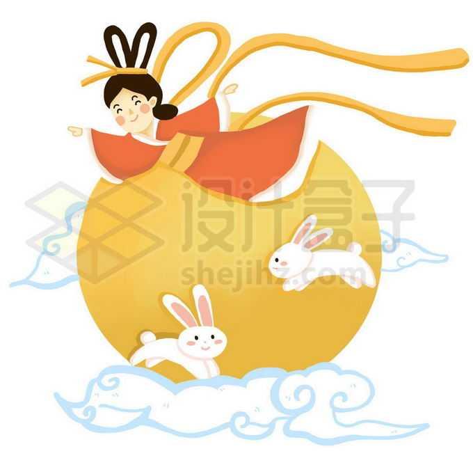 中秋节黄色月亮和卡通玉兔以及飞天嫦娥1505762图片素材下载
