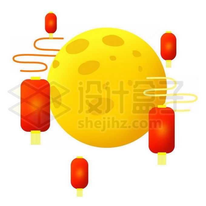 中秋节卡通黄色月亮和红色灯笼6592413图片素材下载