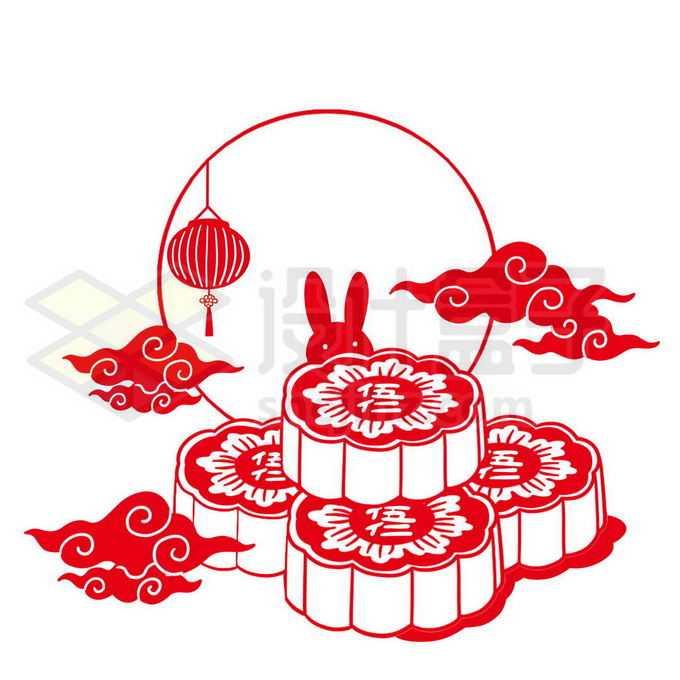 中秋节月饼月亮祥云和玉兔红色剪纸插画3937608图片素材下载