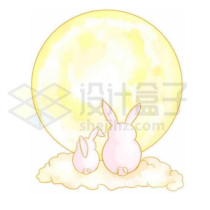 中秋节黄色月亮和卡通玉兔背影4397413图片素材下载