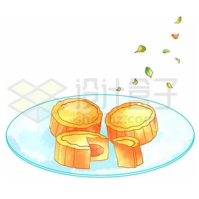 蓝色盘子中的中秋节月饼3570759图片素材下载