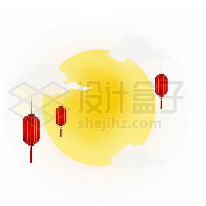 白云和黄色月亮灯笼中秋节插画5497761图片素材下载