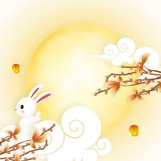 中秋节黄色月亮祥云图案和卡通玉兔7867508免抠图片素材