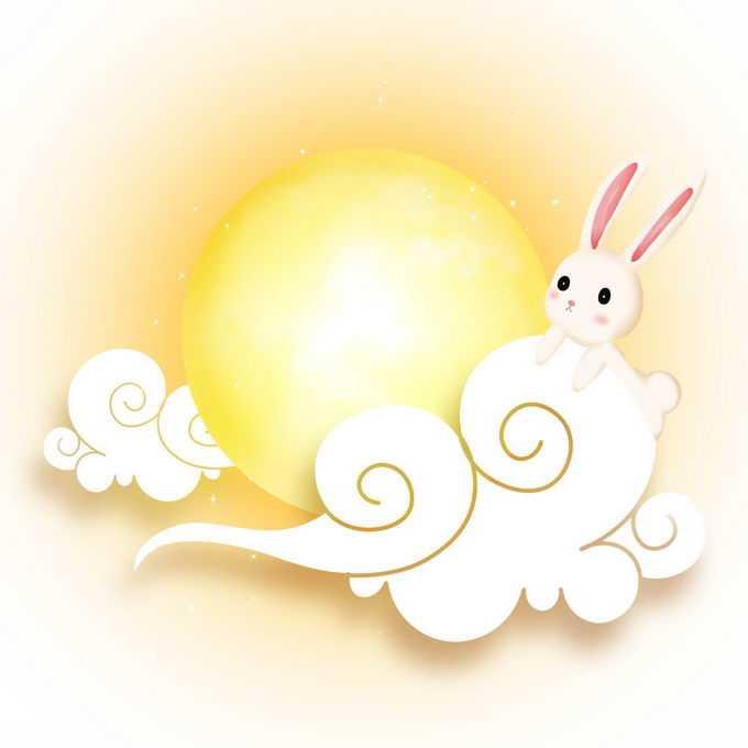 中秋节趴在祥云上的玉兔和黄色月亮5307344免抠图片素材