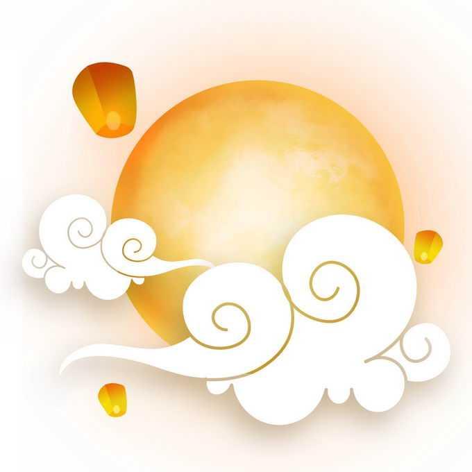 中秋节黄色月亮和祥云以及孔明灯7384376免抠图片素材