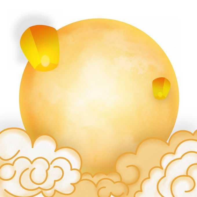 中秋节祥云图案和黄色月亮孔明灯5757219免抠图片素材